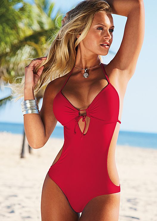 one piece swimwear sweetheart monokini swimsuit in red hot | venus LEOJWKO