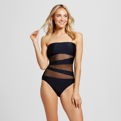 one piece swimwear womenu0027s mesh inset one piece - mossimo™ QXIHYZC