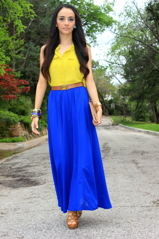 outfit idea - blue maxi skirt VDHKGVB