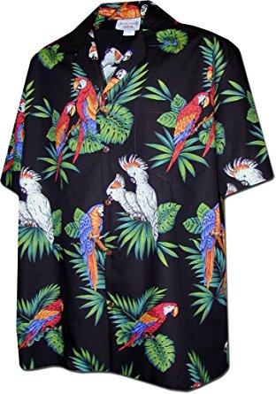 parrots hawaiian shirt, black (s) DPXQJPQ