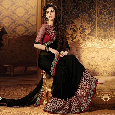 party wear sarees black party wear designer saree IQNJONI