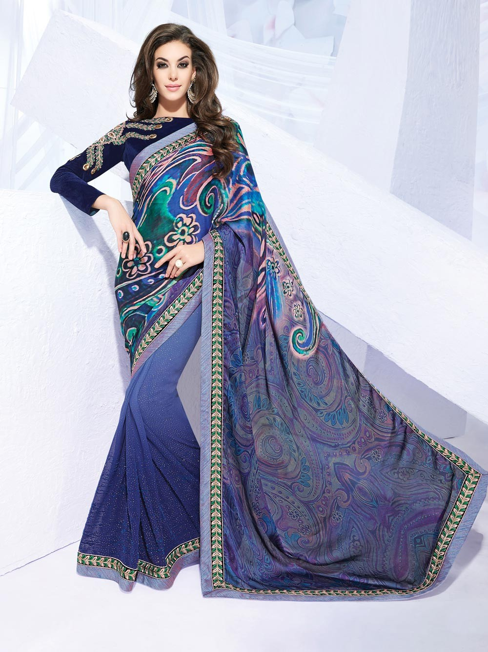 party wear sarees blue exclusive chiffon party wear saree with full sleeve blouse f16270 NERPIBK