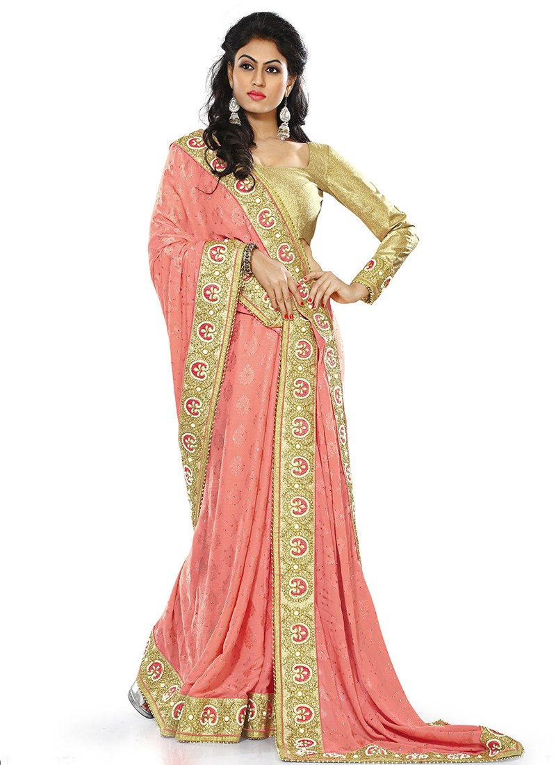 party wear sarees latest indian designer party wear saree in peach gf24585 UTFMIXX