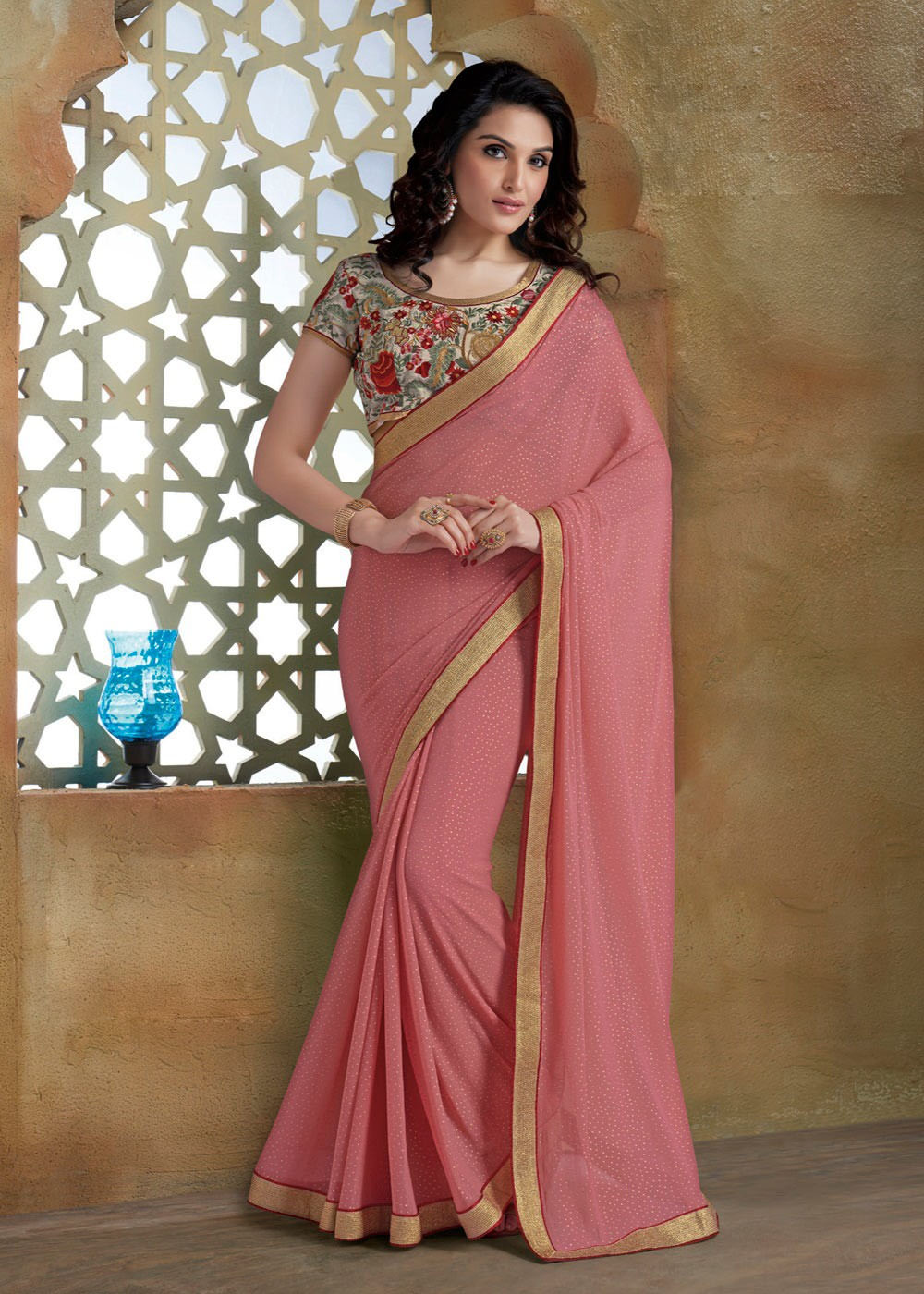 party wear sarees pink unique indian party wear georgette saree with embroidered blouse a16093 ZPLFSJM