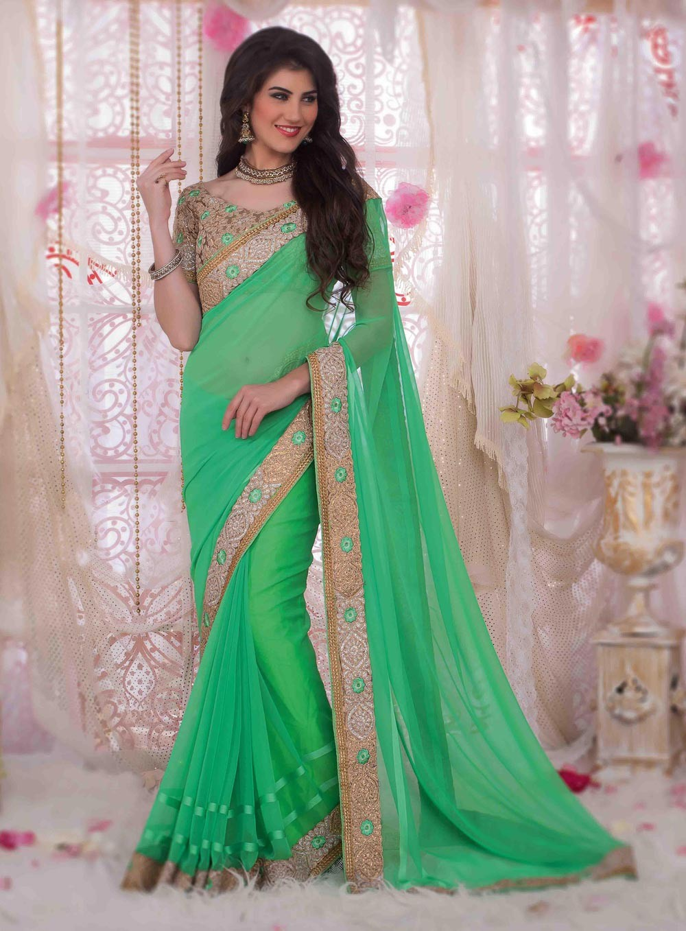 party wear sarees sea green designer party wear saree with blouse g15344 GWPCHEX