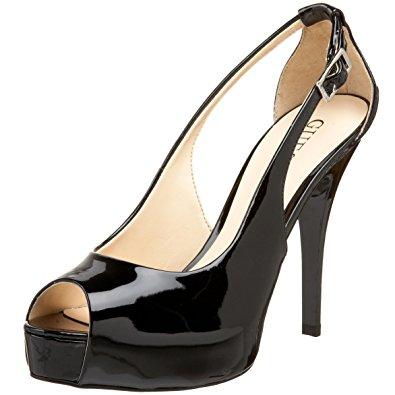 peep toe pumps guess womenu0027s hondo3 peep-toe pump,black patent,11 ... COXKXAH