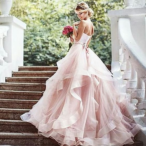 Pink wedding dresses can represent you fabulously pink wedding dresses elegant wedding dresslace wedding dressromantic evening dressprincesses junglespirit Images