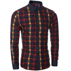 plaid shirts classic color block shirt collar long sleeves slimming plaid shirt for men  - DLHLOSC