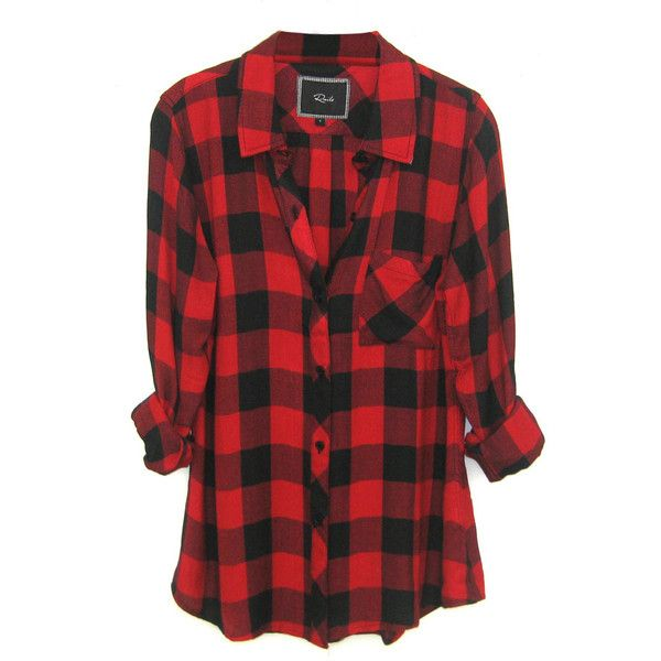 plaid shirts rails hunter plaid shirt in black/red check found on polyvore SPGWDGC