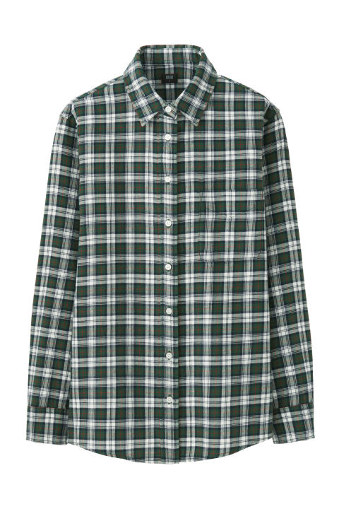 plaid shirts uniqlo flannel check long sleeve shirt, $20; uniqlo.com PRNPHGU