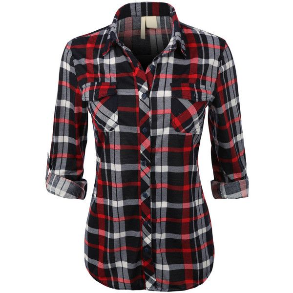 plaid shirts womens lightweight plaid button down shirt with roll up sleeves (u20ac16) ❤  liked IVAHHXS