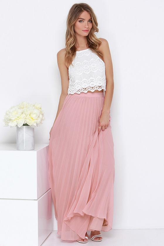 pleated maxi skirt blush skirt - pleated skirt - maxi skirt - $64.00 VAJCZRV