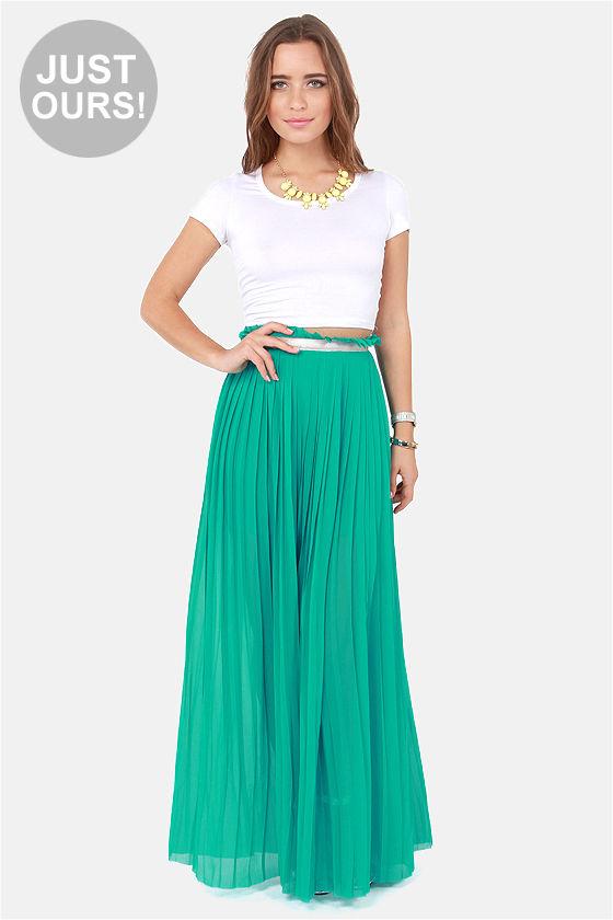 pleated maxi skirt stylish teal skirt - maxi skirt - pleated skirt - $49.00 BOMGZGL