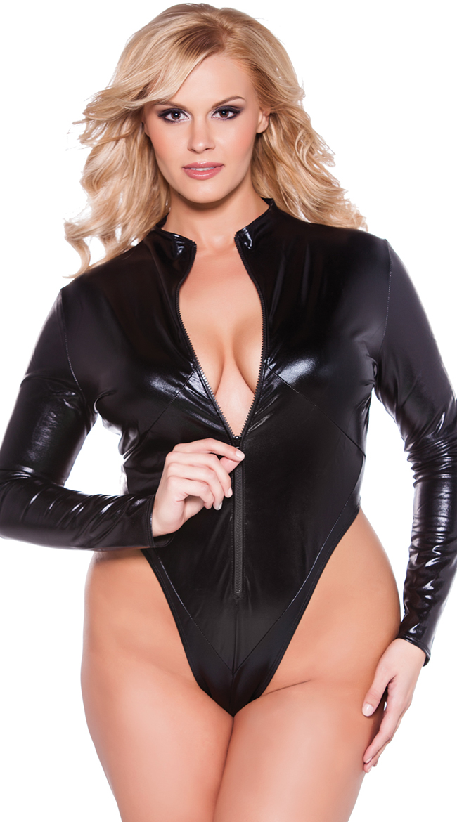 plus size bodysuit plus size front zip vinyl teddy, plus size thong zip up bodysuit, plus size UMTHDGT