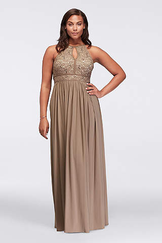 plus size dresses morgan and co. lace keyhole tie back plus size ... EOFMSEF