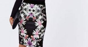 plus size floral print midi skirt - plus size skirts - womenu0027s plus size GWKOKVG
