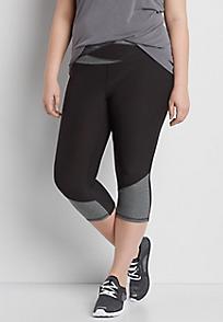 plus size leggings plus size capri legging with heathered panels VGNGXKE