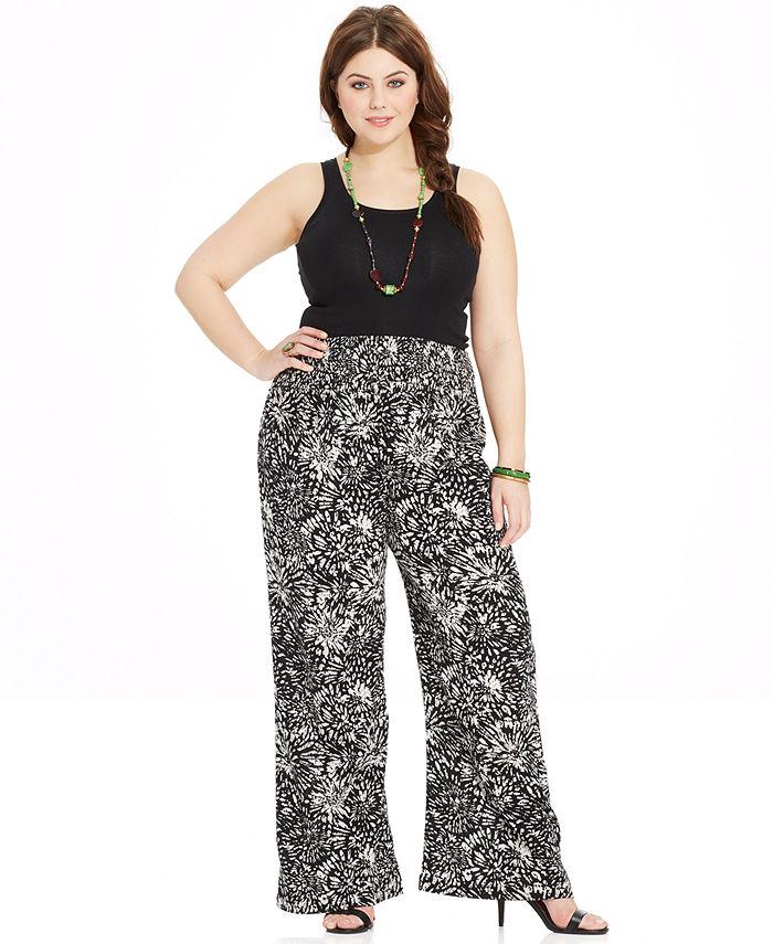 plus size palazzo pants ... american rag plus size printed wide-leg pants JSETFOW