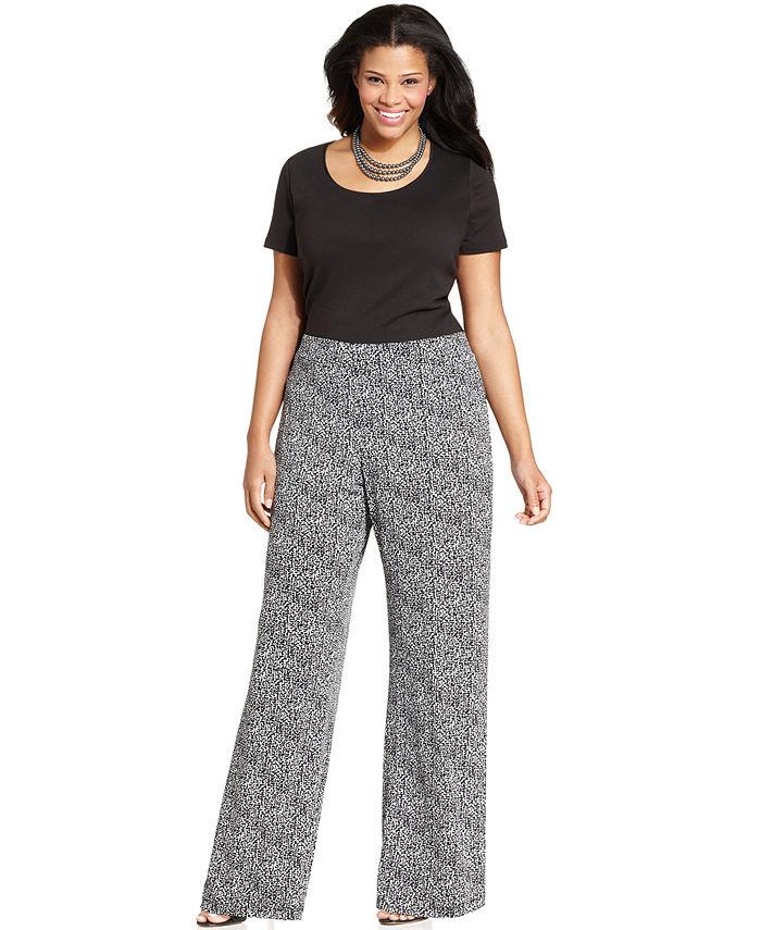 plus size palazzo pants ... elementz plus size printed wide-leg soft pants ARIBHOE