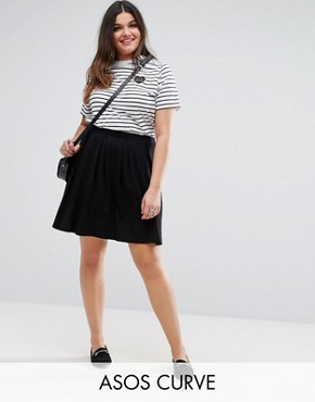 plus size skirts asos curve mini skater skirt with box pleats HLUWNPJ