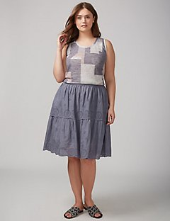 plus size skirts eyelet skirt with scalloped hem IHZMGGR