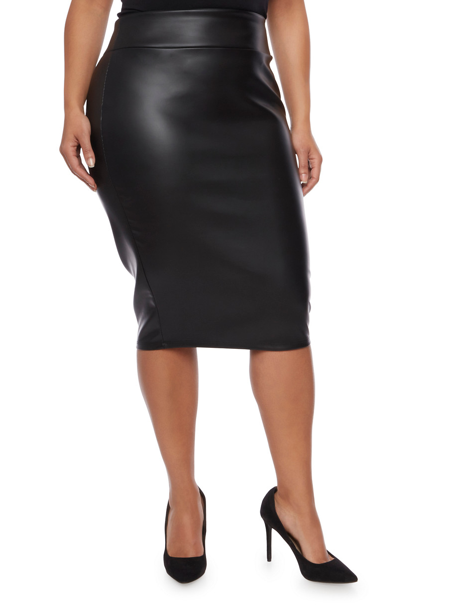 plus size skirts ... online exclusive - plus size faux leather pencil skirt,black,large ZVBRYEC