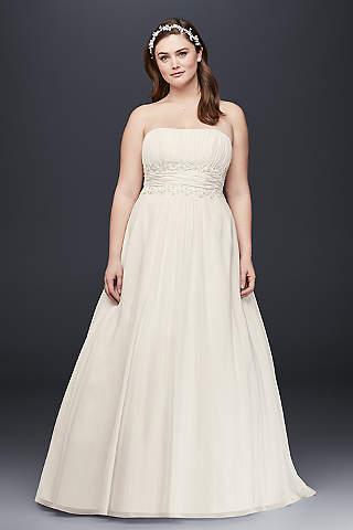 plus size wedding dress davidu0027s bridal collection. chiffon empire waist plus size ... IEWCLZH