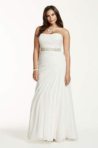 plus size wedding dress davidu0027s bridal collection. crinkle chiffon draped plus size ... UQCKRDI