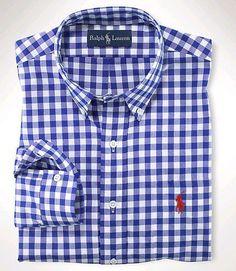 polo dress shirts polo ralph lauren mens checked dress shirt blue ESSAKMN