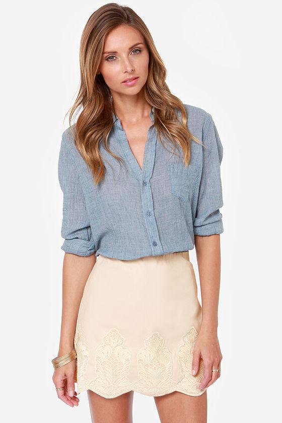 pretty beige skirt - embroidered skirt - scalloped skirt - $59.00 JTYPVII