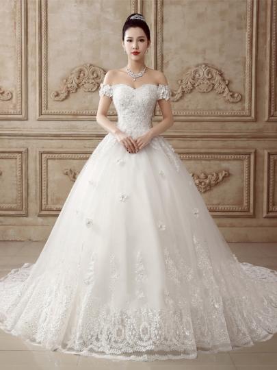 princess wedding dresses chapel train off-the-shoulder lace bowknot princess wedding dress MFGOZES