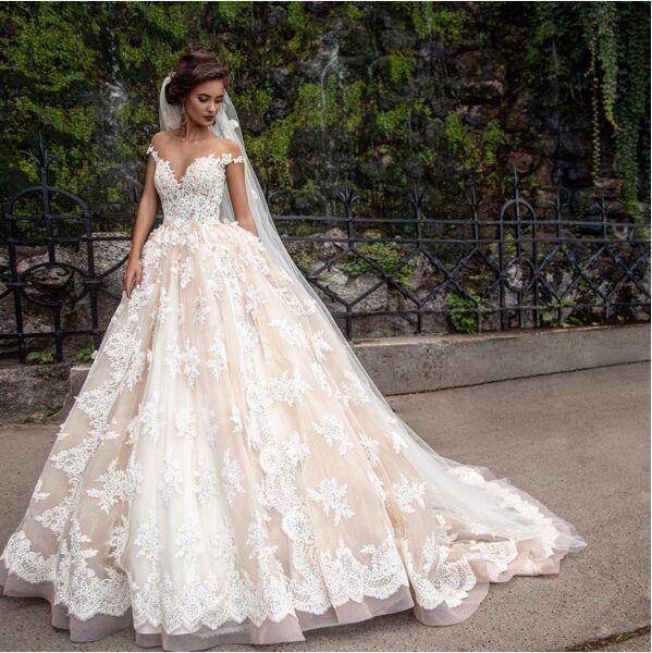 princess wedding dresses cheap 2017 lace applique princess country wedding dresses berta champagne  dubai arabic off MJHASSQ