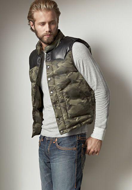 puffy vest leather yoke nylon camo mens puffer vest - mens shop the look - true NCLLBRY