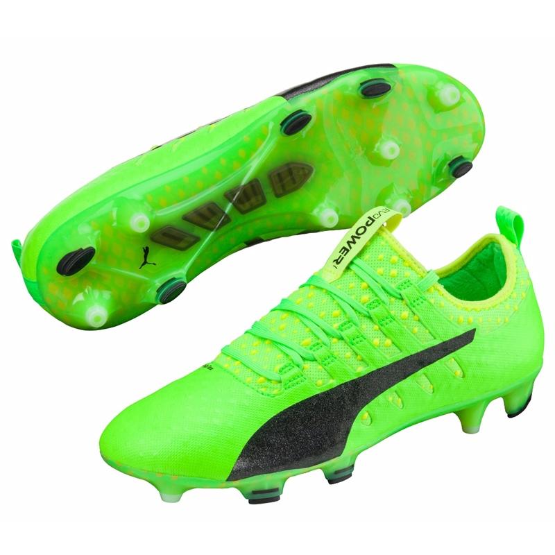 Puma cleats puma evopower vigor 1 fg soccer cleats (green gecko/puma black/safety  yellow) MIGIRYV