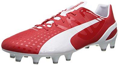 Puma cleats puma menu0027s evospeed 1.3 firm ground soccer shoe,white/high risk red/empire BPNMHJQ