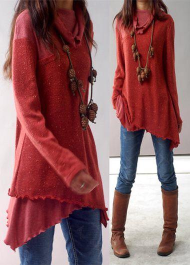 Red Blouse asymmetric hem long sleeve red blouse SZIBOYI