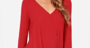 Red Blouse cute red blouse - long sleeve top - chiffon top - $33.00 AZVFECY