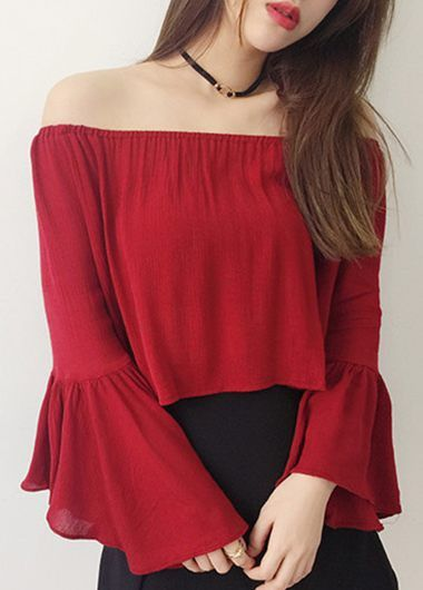Red Blouse flare sleeve open back red blouse QEHRYJP