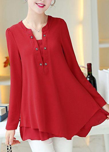 Red Blouse long sleeve asymmetric hem red blouse | modlily.com - usd $24.53 QHIZLOA