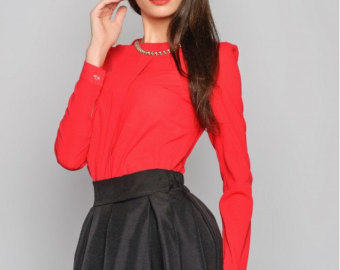 Red Blouse red blouse office blouse business woman blouse chiffon blouse blouse with  buttons. red RDOBWYO