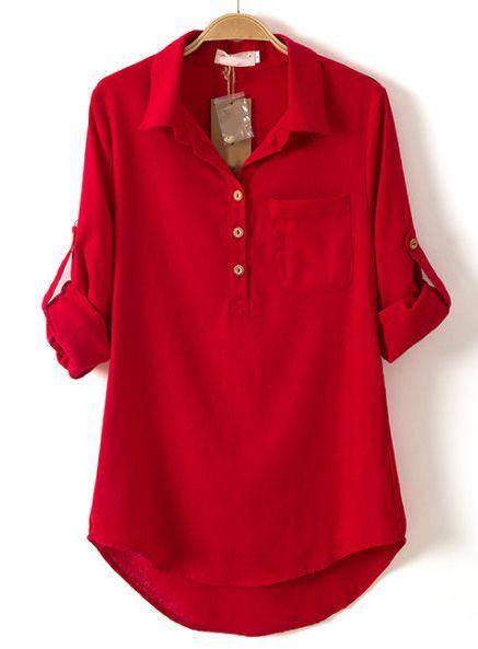 Red Blouse red lapel long sleeve pocket dipped hem blouse - sheinside.com LBKHXOM