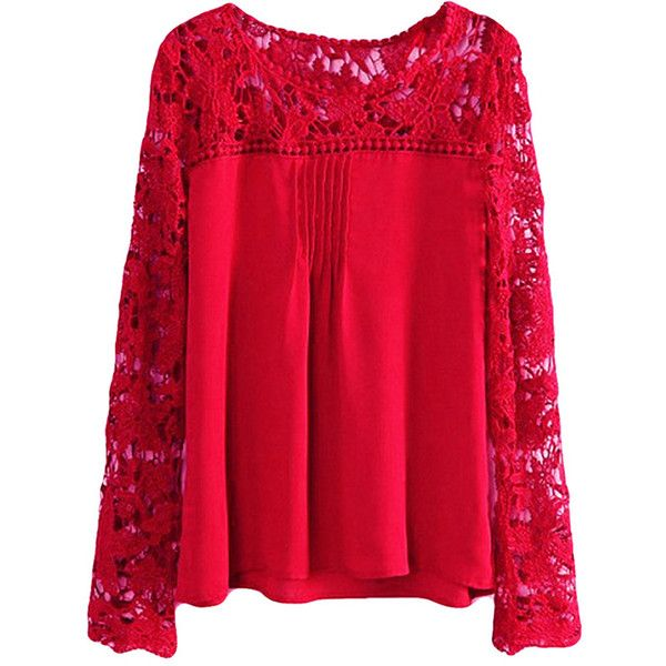 Red Blouse ruby plus size cut out chiffon long sleeve ladies blouse ($10) ❤ liked on KTLRVPJ