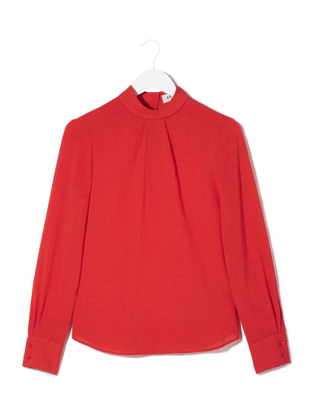 Red Blouse tailored long sleeved funnel neck blouse - red HALOFNL