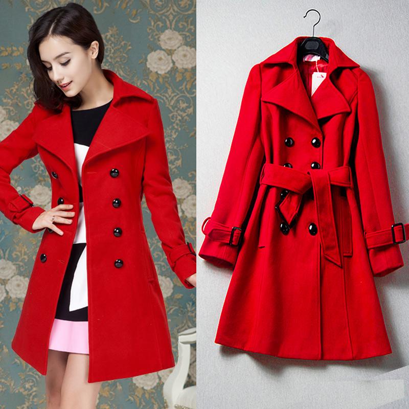 red coat european fashion women fall winter coats new womenu0027s luxurious red  double-breasted match wool CHGAPHB