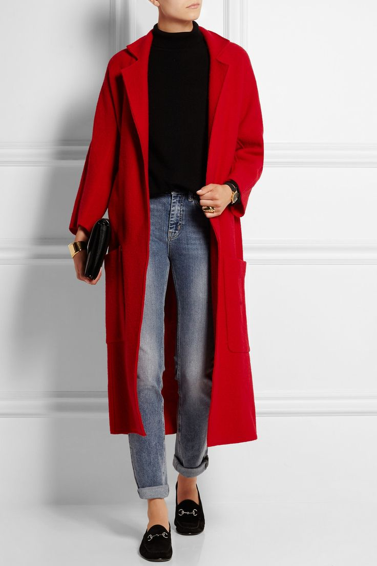 red coat maje | grenat oversized wool coat | net-a-porter. CEQTJNH