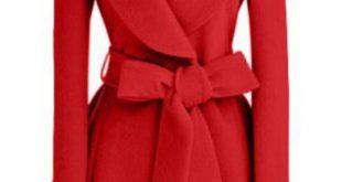 red coat red plain bow single breasted fashion wool coat XOIHDRJ