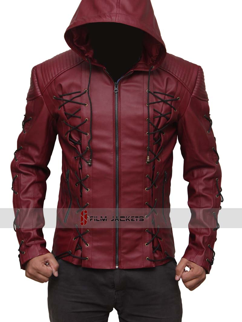 Red Leather Jacket arsenal red hood leather jacket ... LQDMZTO