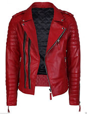 Red Leather Jacket menu0027s genuine lambskin quilted leather motorcycle jacket slim fit biker  jacket - WDYRHGJ
