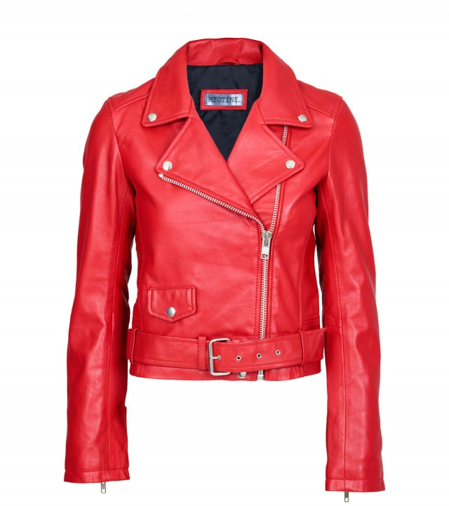 Red Leather Jacket vigga biker - red WWCNZJS