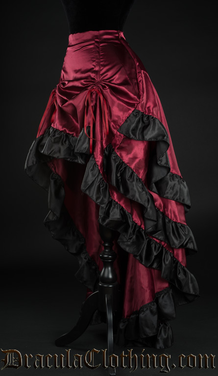 red satin layer bustle skirt YCHGSLQ